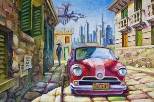 Oil: Old Red Car at the Sunny Street