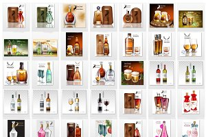 Bundle of 42 alcohol bottles mockup