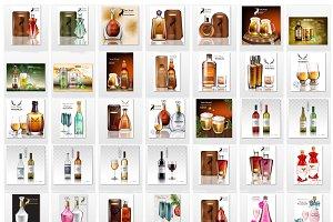 Bundle of 42 alcohol bottles mockup