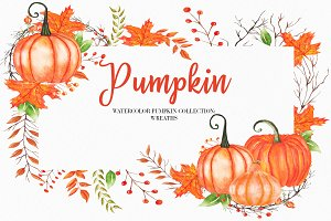 Watercolor Pumpkin Wreath Clipart