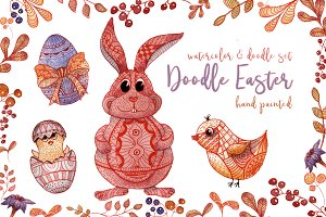 Doodle Easter Watercolor Set Clipart