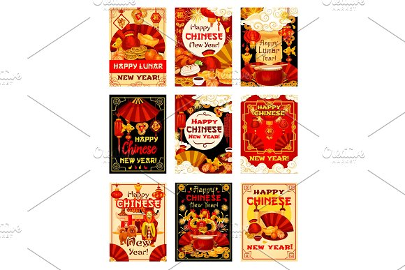 Chinese New Year vector traditional greeting cards