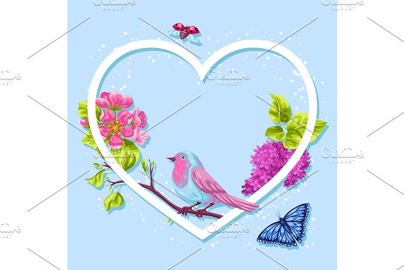 Spring garden frame. Natural illustration with blossom flower, robin birdie and butterfly in Illustrations
