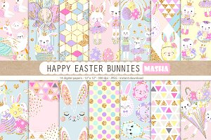 HAPPY EASTER BUNNIES digital papers