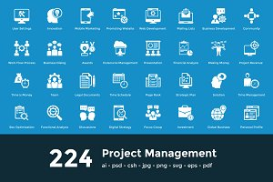 224 Project Managment Vector Icons