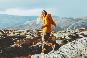 Traveler Woman trail running outdoor