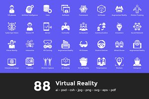 88 Virtual Reality Vector Icons