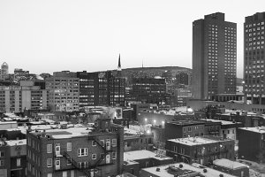 Montreal Sunset - Black and White