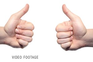 Two thumbs up isolated on white