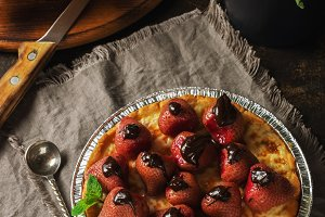 Cottage cheese pie with strawberry