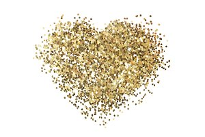 Gold glitter. Heart shape.