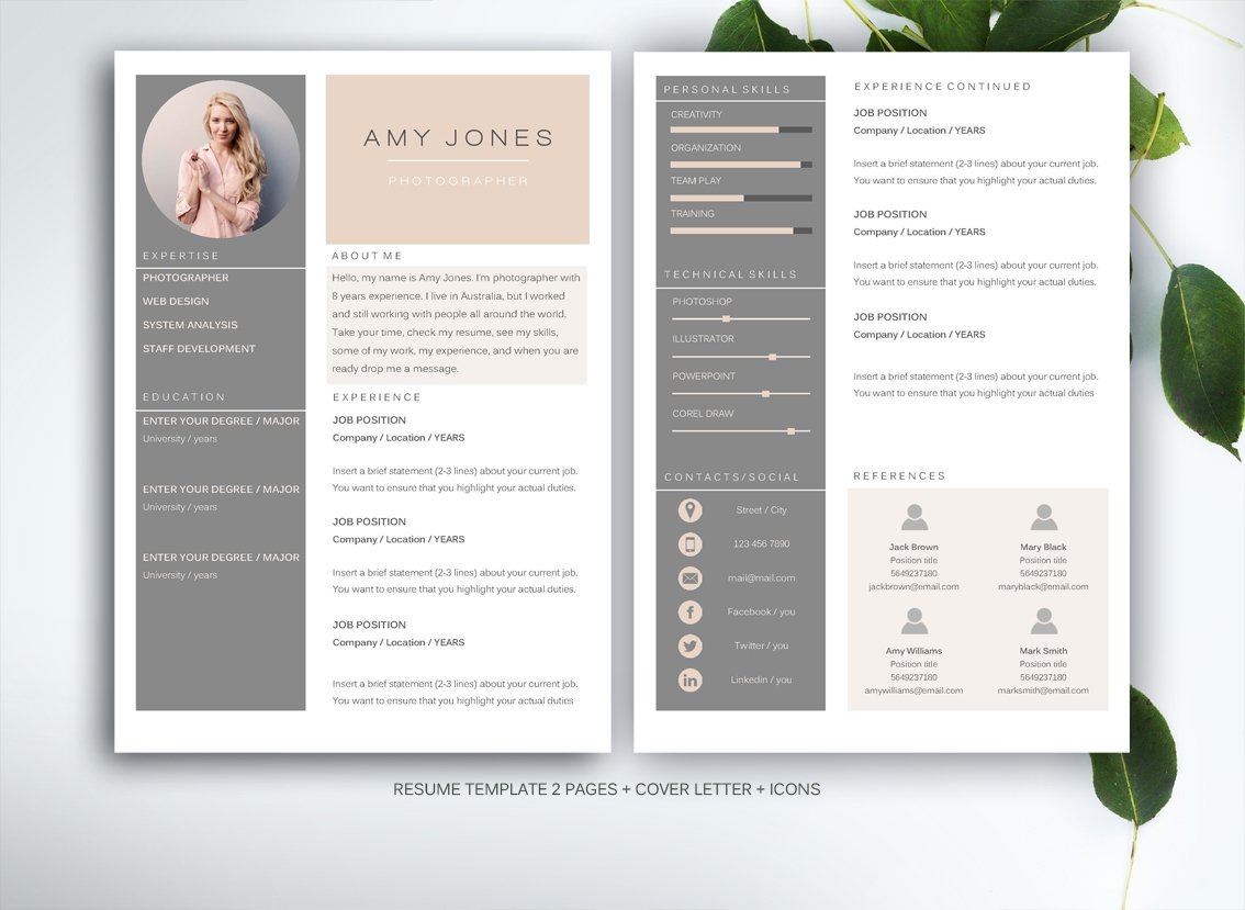 resume template for ms word resume templates creative market - Modern Resume Template Word
