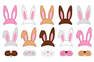 Cute Easter photo booth props as set of party graphic elements of easter bunny costume