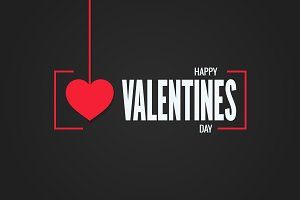 valentines day logo black background