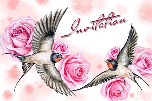 20 % OFF! Swallows with roses