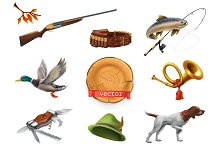Hunting set. 3d vector icon