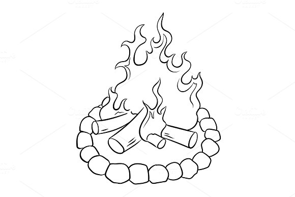 Bonfire coloring book vector illustration
