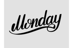 Monday hand lettering vector illustration