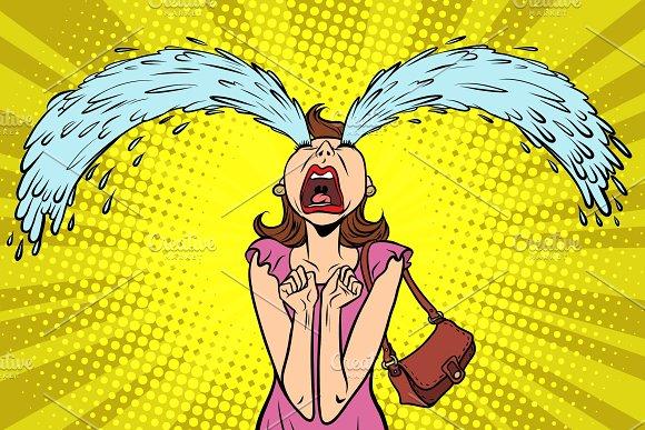 Funny woman crying, the big tears