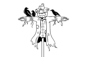 Scarecrow coloring book vector illustration