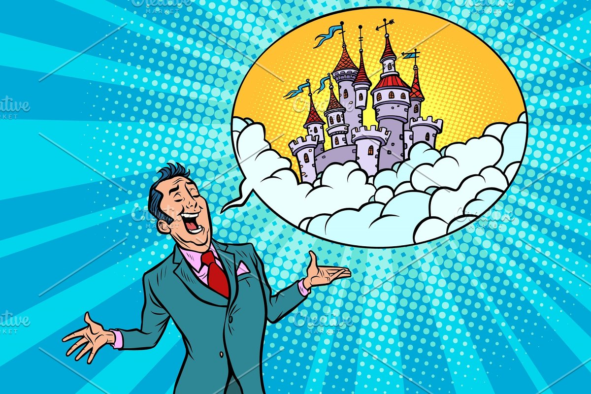 Confident businessman offers a fabulous castle in the sky