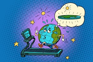 sad Fat Earth on the treadmill. Dream to lose weight. Sport fitn