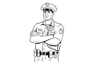 Policeman coloring book vector illustration