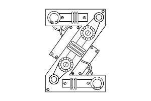 Mechanical letter Z engraving vector illustration