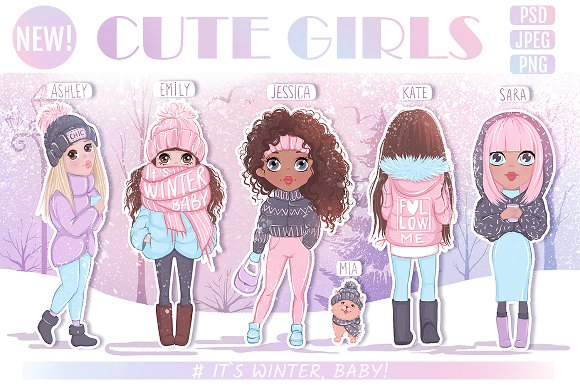 Cute girls. Winter llustrations.