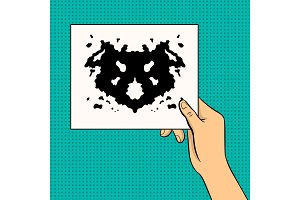 Rorschach test pop art vector illustration