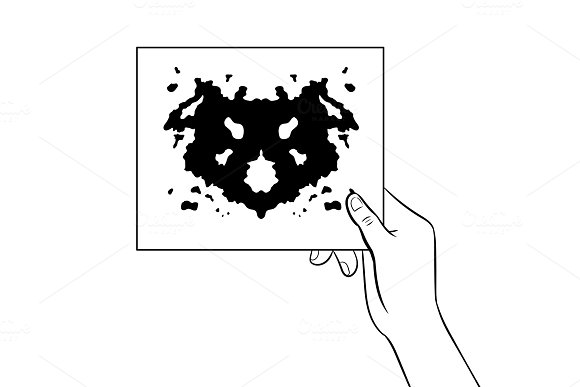 Rorschach test coloring book vector illustration