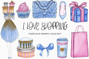 Watercolor Fashion Shopping Clipart