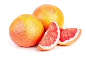grapefruit and slices isolated on white background