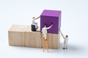 miniature people worker painting woo