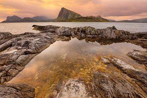 Sunset over Lofoten islands, Norway