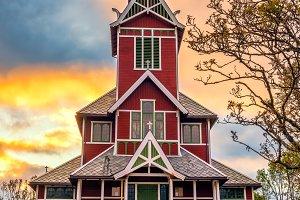 Sunrise above Buksnes Church in Ballstad, Norway