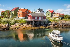 Fishing village Henningsvaer on Lofoten islands, Norway