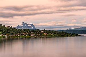 Sunrise above Boge, Nordland county, Norway