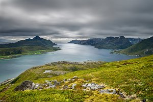 View from Offersoykammen, Lofoten islands, Norway