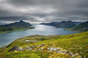 View from Offersoykammen, Lofoten islands, Norway