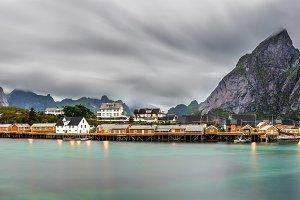 Mount Olstind above the Sakrisoy fishing village, Lofoten, Norway