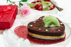 Chocolate cheesecake in heart shape