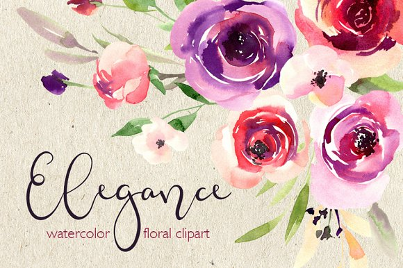 Watercolor Red Violet Flowers PNG