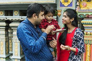 Indian family at the temple