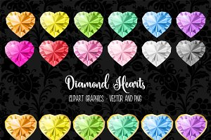 Diamond Hearts Vector Clipart