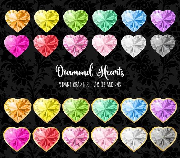 Diamond Hearts Vector Clipart