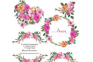 Watercolor Pink Roses Set