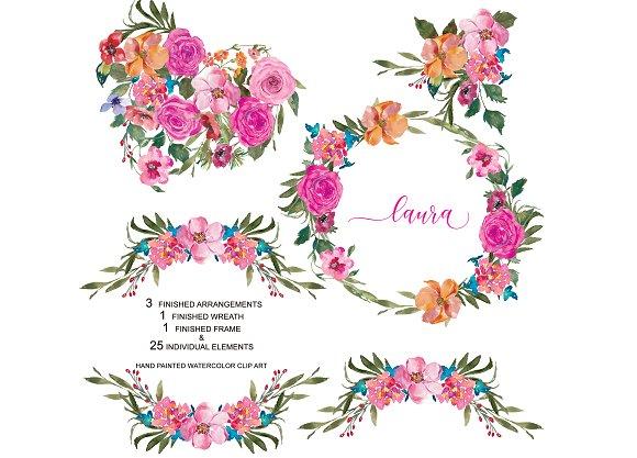 Watercolor Pink Roses Set