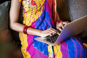 Indian woman is using laptop