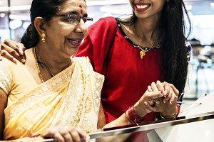 Indian family enjoying at mall